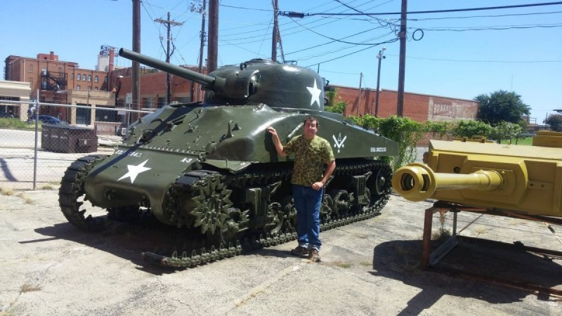 Me next to a Sherman tank