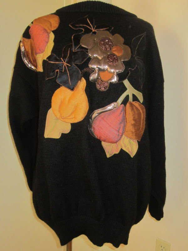 Beth Brett, black wool pullover with applique (1980s)
