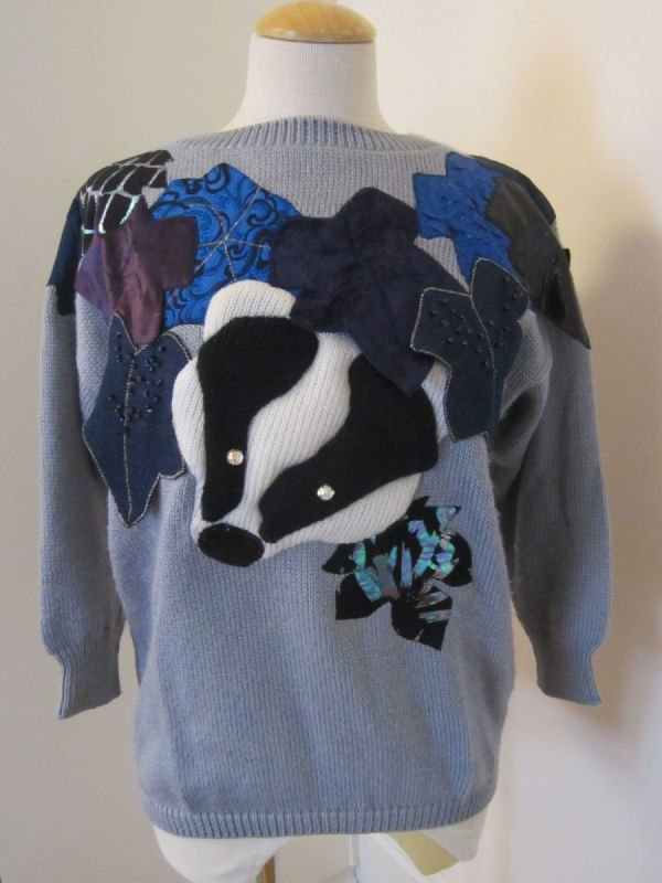 Beth Brett, gray pullover with animal applique (1980s)
