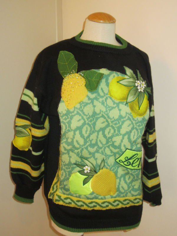 Beth Brett, black wool pullover with lemon label applique (1980s)