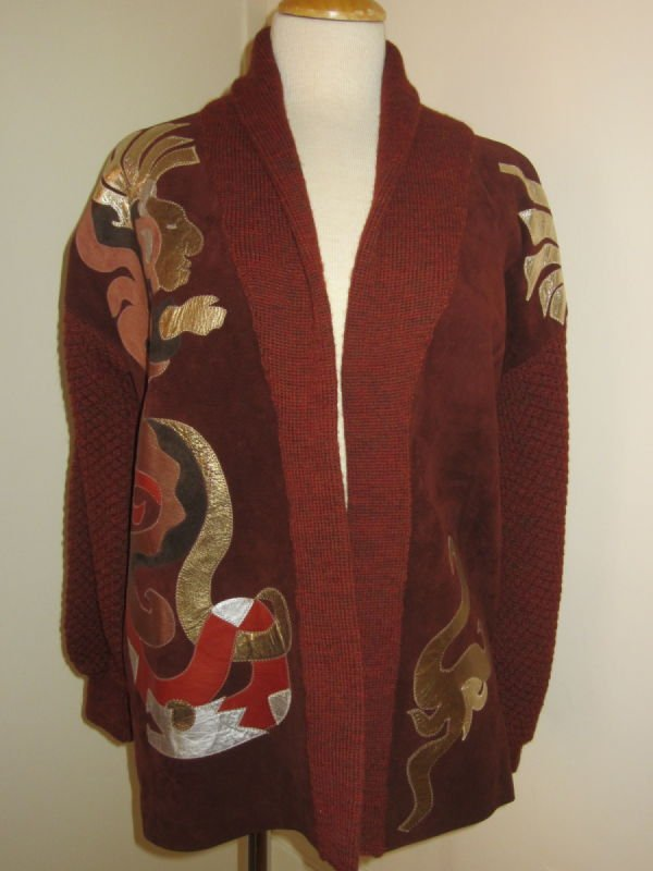 Beth Brett, rust color leather and wool jacket with applique (1980s)