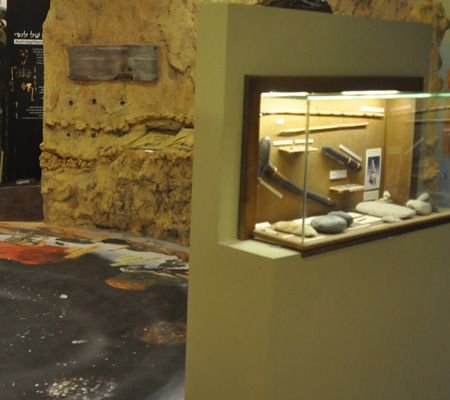 פיתוח עיצוב וביצוע של ויטרינות ואמצעי המחשה במרכז מבקרים בנושא האדם הקדמון