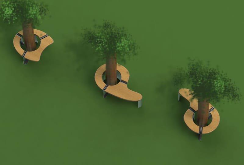 עיצוב ספסל חובק עץ נרוסטה בשילוב עץ לחברת מטליין