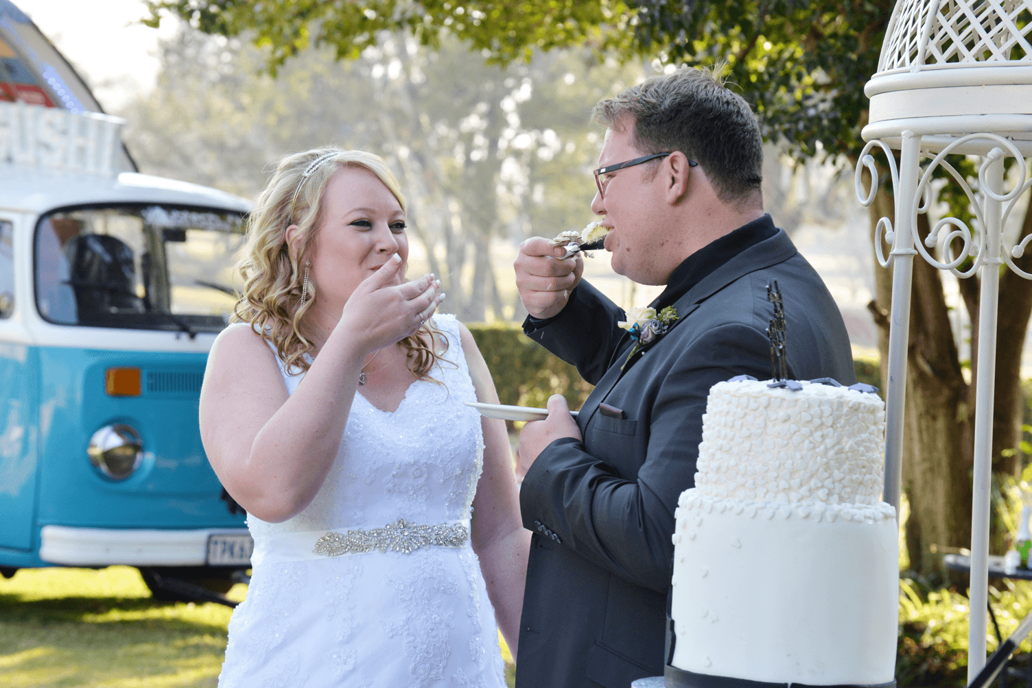 tasting of wedding cake