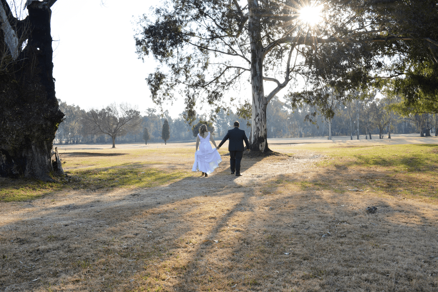 wedding shoot on golfcourse