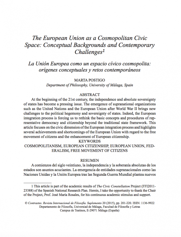 The European Union as a cosmopolitan civic space conceptual backgrounds and contemporary challenges