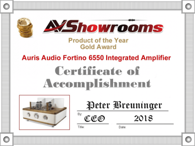Gold Award - Fortino 6550 - AVShowroom