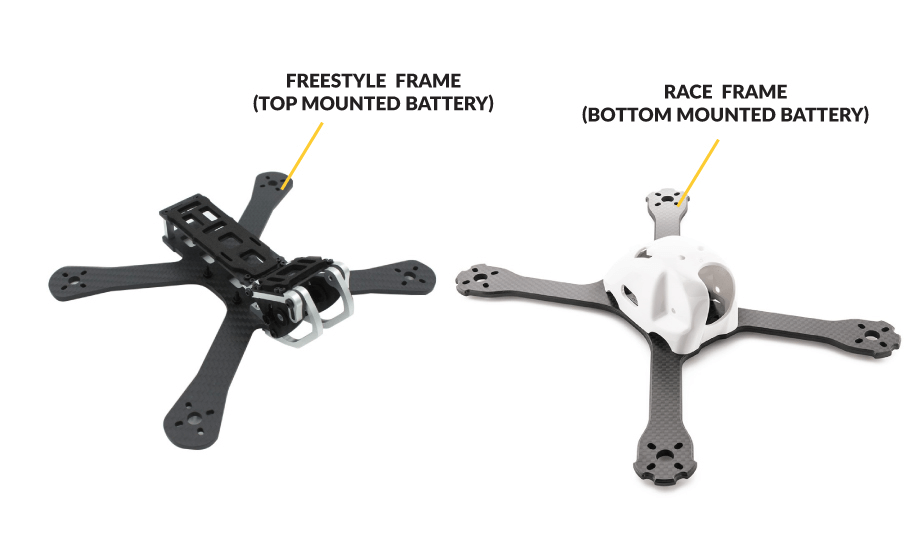 Different battery mounting options of FPV Drone Racing Frames