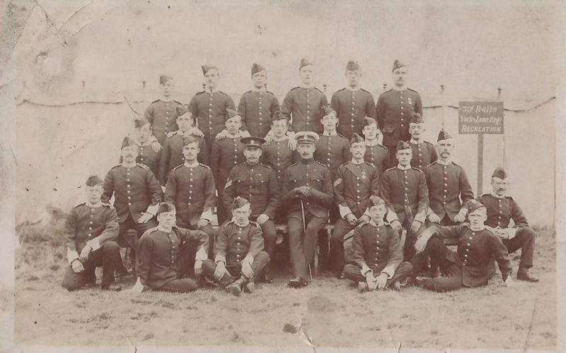 This group of soldiers of the 3rd Battalion are pictured outside their recreation tent during an annual c&. & 3rd Battalion - BADGES OF THE YORK AND LANCASTER REGIMENT