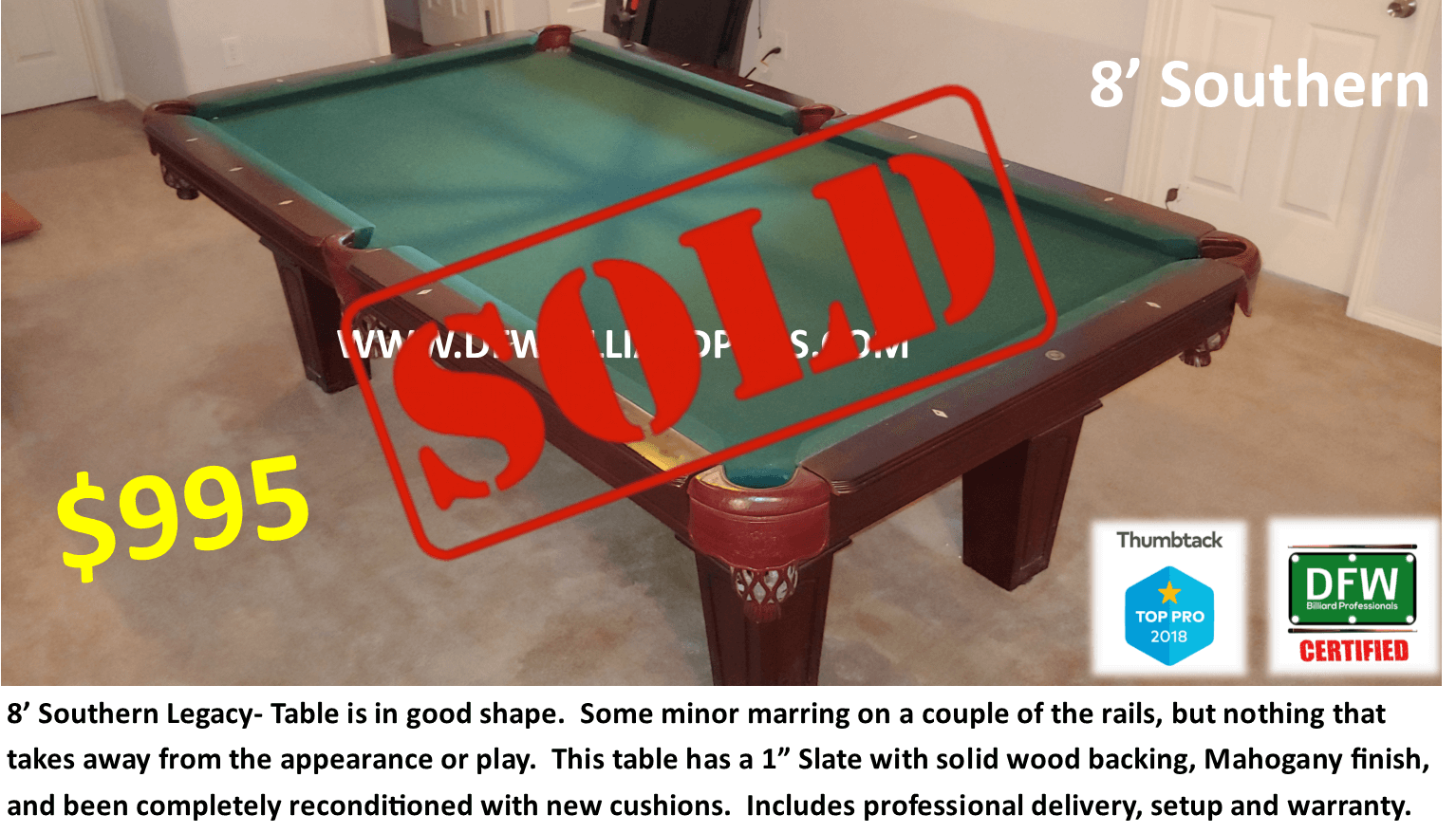 Sold Certified Table