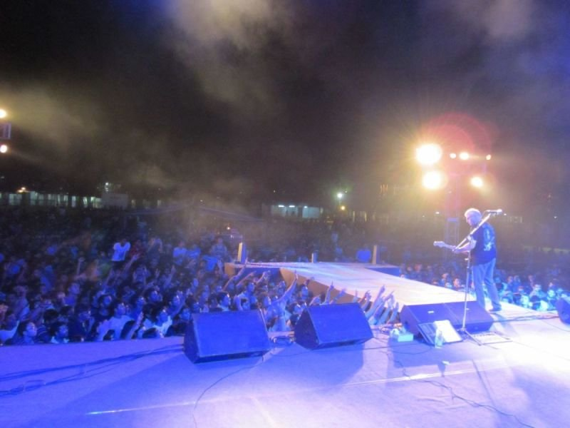 On stage in India