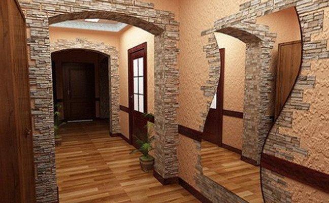 Искусственный камень в интерьере фото арки