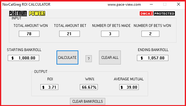 FREE DOWNLOAD ! NEW ROI, AVG MUTUAL, WIN%, BANKROLL CALCULATOR