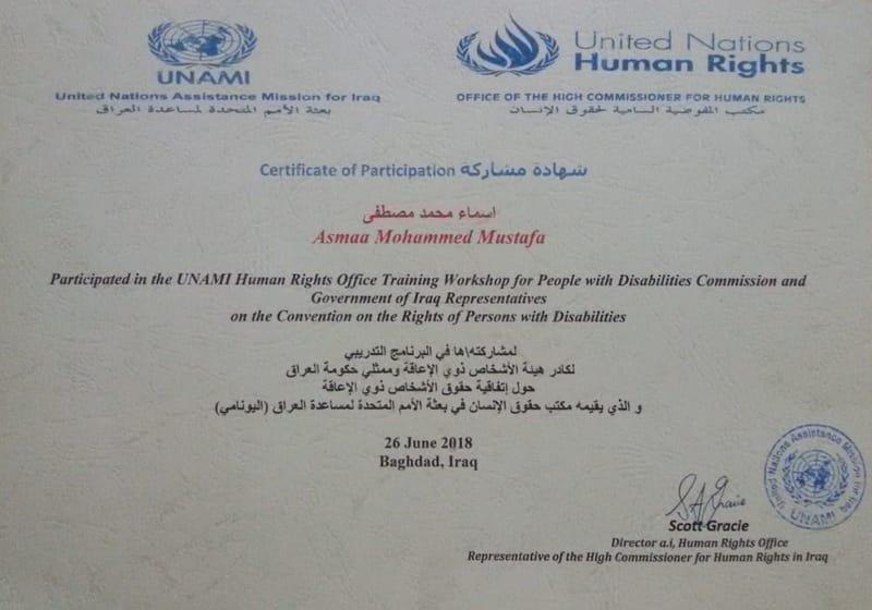 شهادة لمشاركة رئيس تحرير شبكة الحياة لوحة رسم ببرنامج تدريبي لمكتب حقوق الانسان في بعثة الامم المتحدة