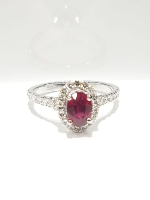 18ct White Gold Natural Ruby Ring