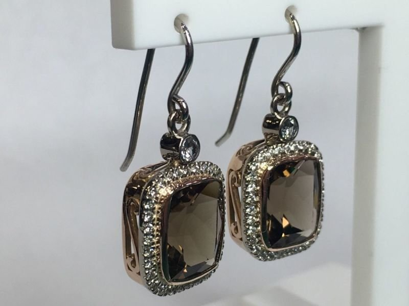 18ct two tone natural smoky quartz and diamond earrings