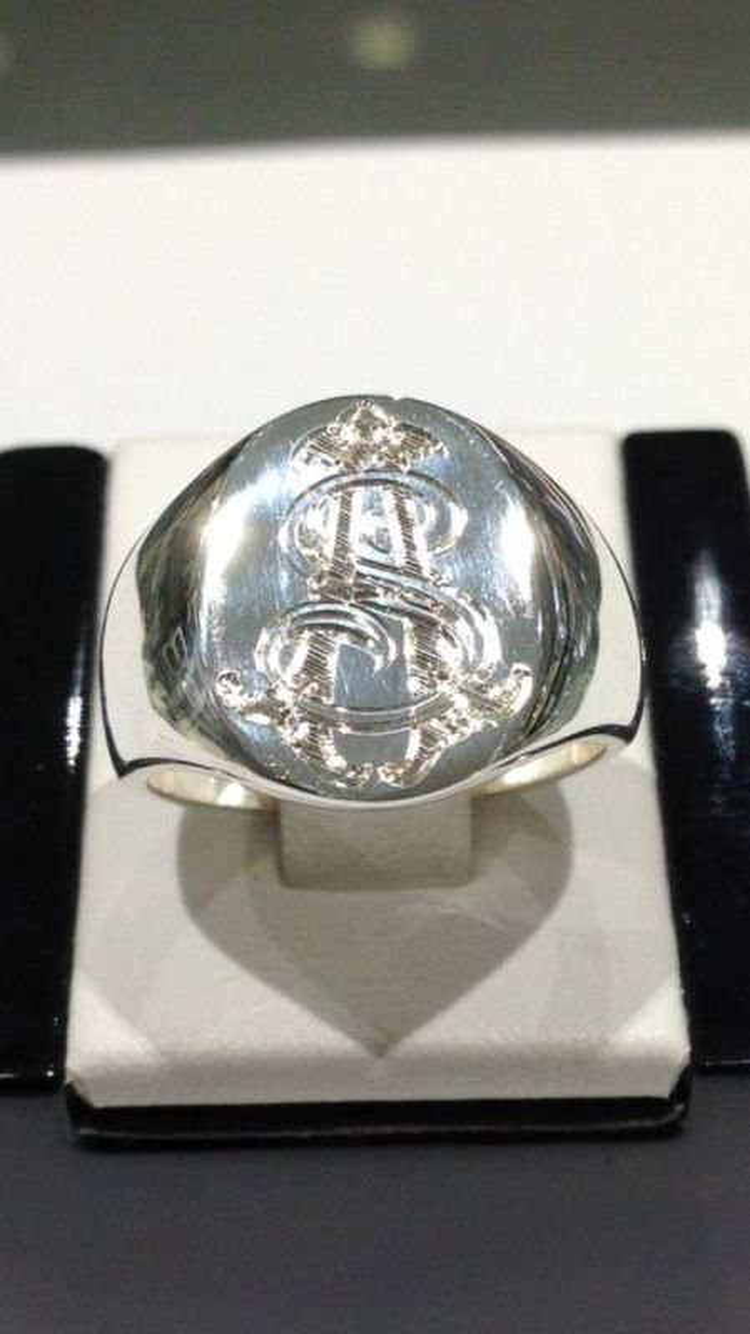 Silver mens ring