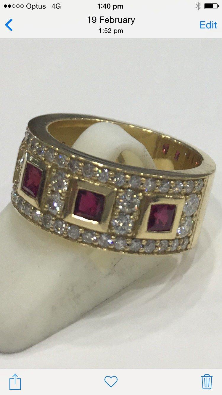 Custom made Ruby and diamond ring