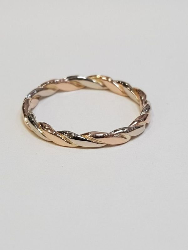 White Gold and Rose Gold Twist Ring