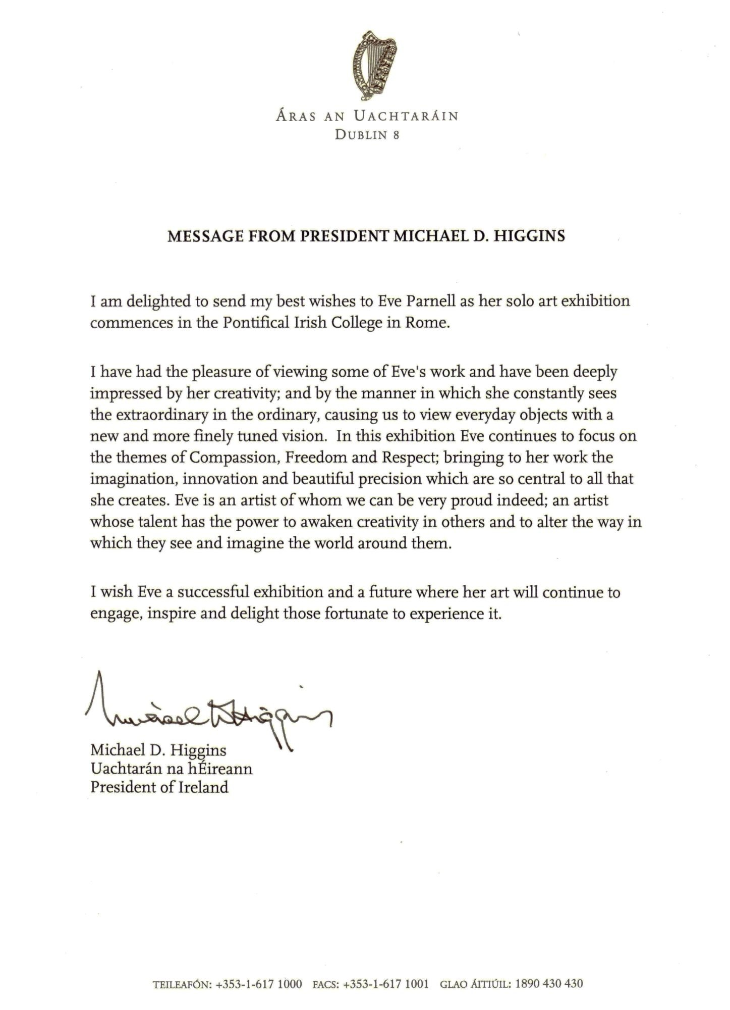 letter from his excellency the president of ireland michael d higgins