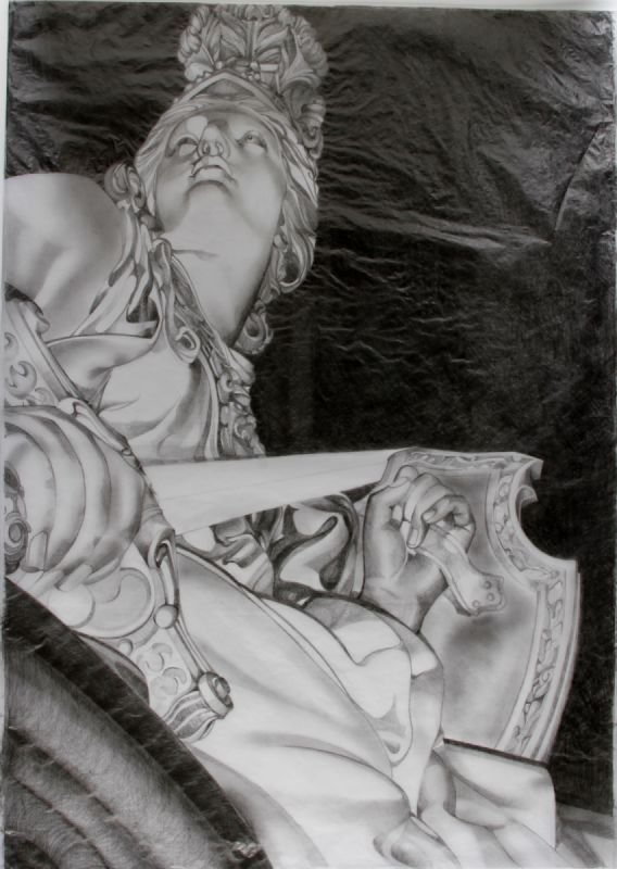 Study of Fortitude, H60 x W41.5 cms, Pencil on Tissue Paper, exhibited in a solo show in Hannover and Berlin, Germany
