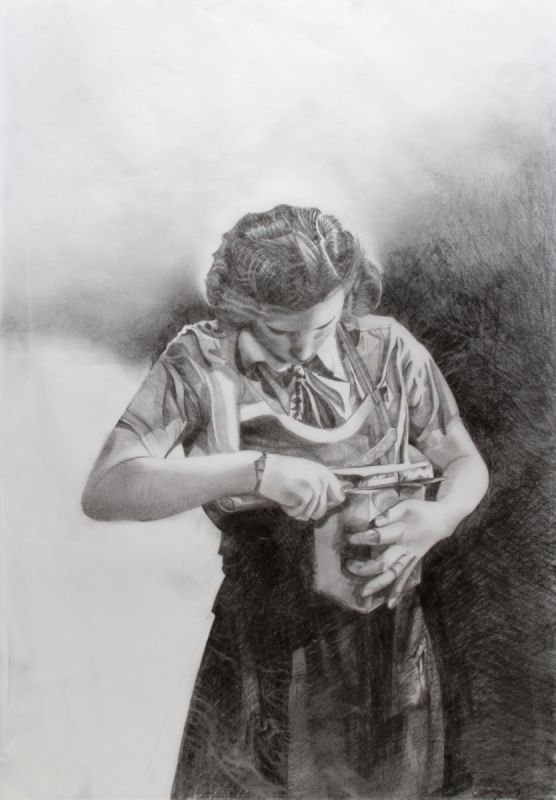 Woman cutting bread, Pencil on Tissue Paper,  H59 x W42cms, exhibited in solo show in Hannover, Germany