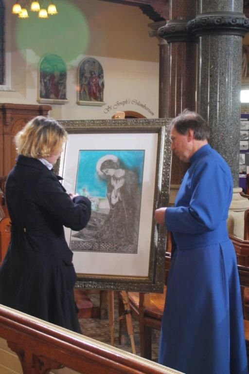 Eve chats with the Dean of Belfast Cathedral, the very Reverand John Mann before the arrival of the Royal Couple, May 2015