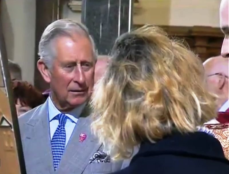 Eve Parnell meets and discusses art with TRH The Prince of Wales and The Duchess of Cornwall in St. Patrick's Church Donegall Street, Belfast, 2015