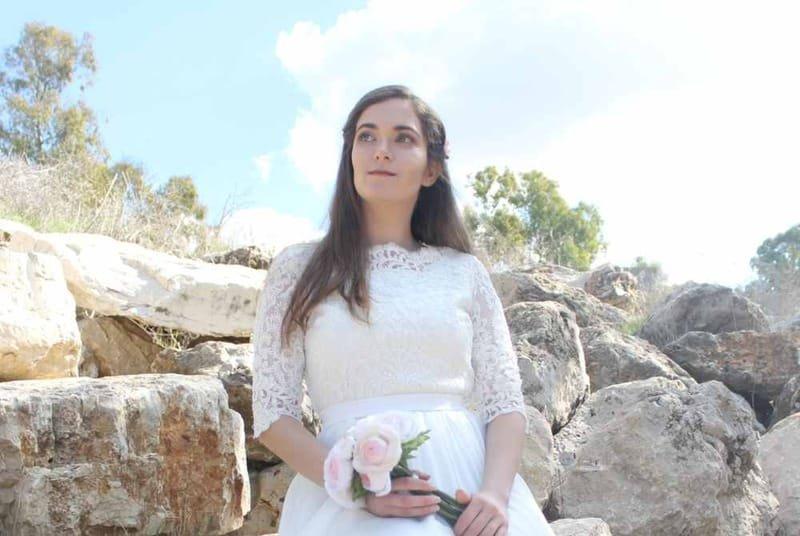 שמלה כלה לדתיות  דגם  105