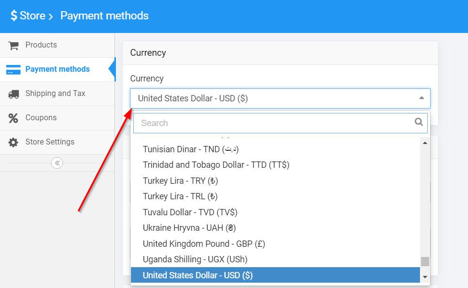 Choosing Store Currency