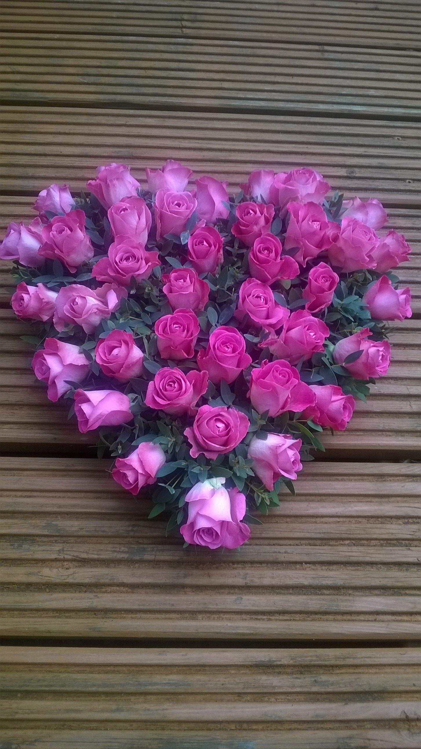 Florist hassocks flowers gift bouquets weddings funerals heart arrangement of pink roses izmirmasajfo