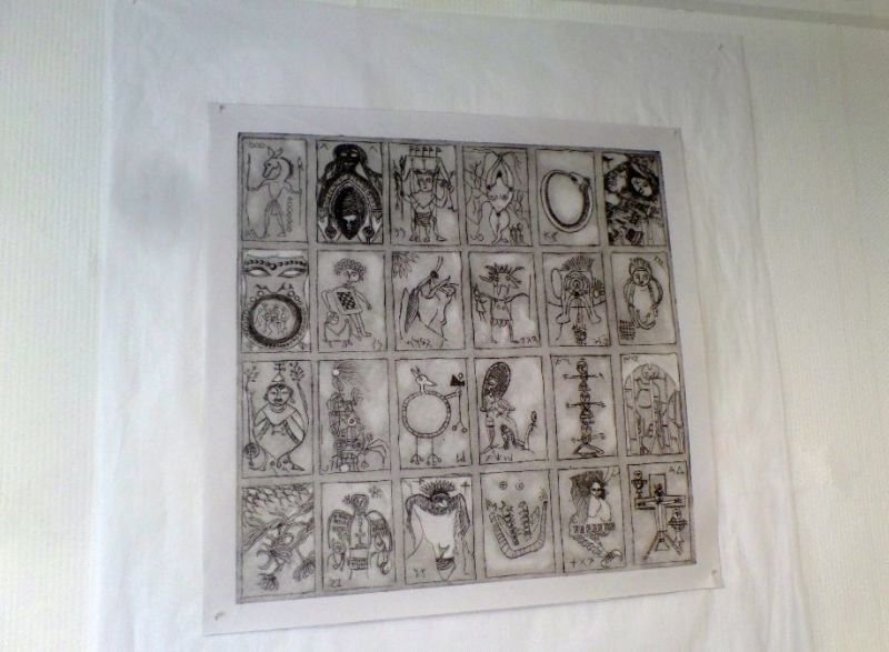 Print of a panel to produce a deck of playing cards by Sally Annett.