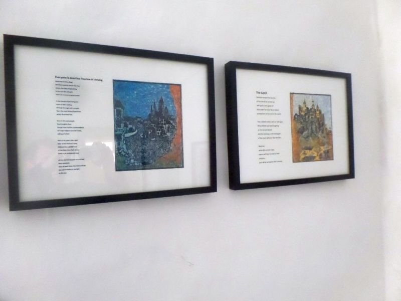 """The Village"" Three prints by Serge Arnoux reprinted and hand coloured by Robert Campbell Henderson with original poems by Hugh Mcmillan."
