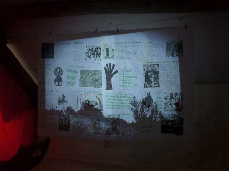 "The 13 minute 24 seconds video of the live projection of the ""Blash o God"" in the Attic Room."